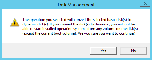 Warning of Convert to Dynamic Disk