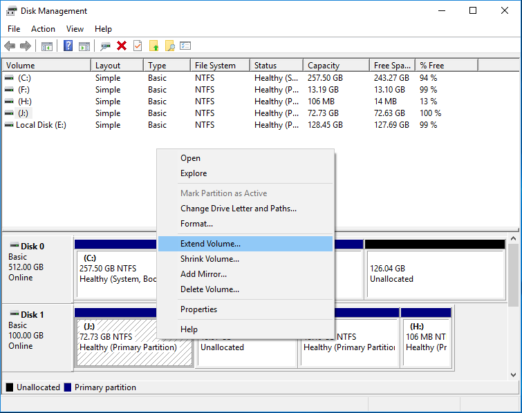 Disk Management to Extend Volume