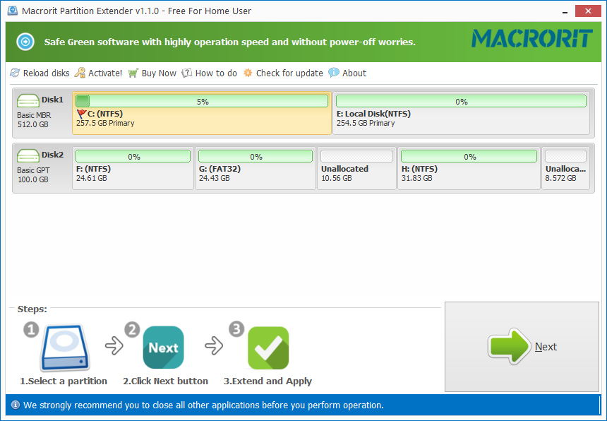 Click to view Macrorit Partition Extender Free screenshots
